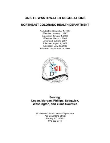 ONSITE WASTEWATER REGULATIONS - Nchd.org