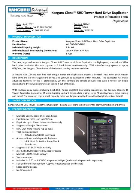 "Kanguru Cloneâ""¢ 5HD Tower Hard Drive Duplicator - Espion"