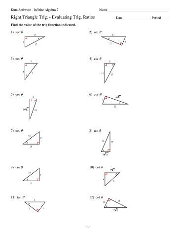 Right Triangle Trig Evaluating Ratios - Kuta Software