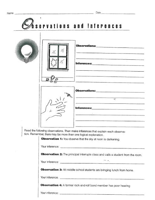 Observations And Inferences Worksheet Nidecmege