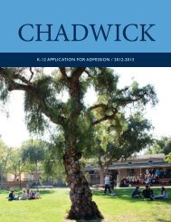 K-12 APPLICATION FOR ADMISSION / 2012-2013 - Chadwick School