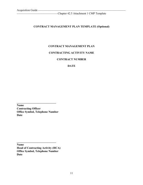 11 contract management plan template optional