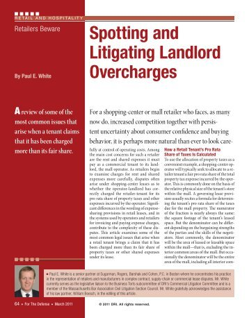 Spotting and Litigating Landlord Overcharges - Sugarman, Rogers ...