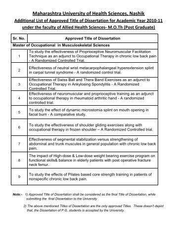 Additional List of Approved Title of Dissertation for Academic Year ...