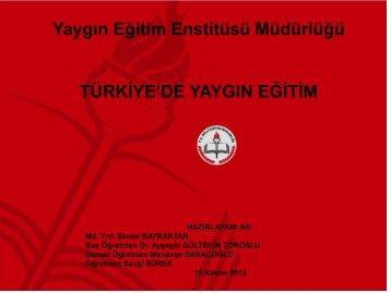 Yaygın Eğitim Enstitüsü Müdürlüğü TÜRKİYE'DE ... - REC Türkiye