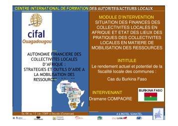 autonomie financiere des collectivites locales d'afrique : strategies et ...
