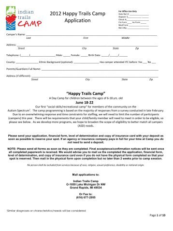 2012 Happy Trails Camp Application - Indian Trails Camp
