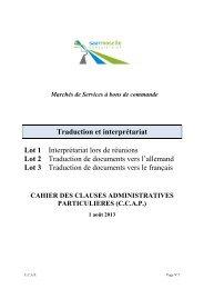 Cahier des Clauses Administratives Particulières - Eurodistrict ...