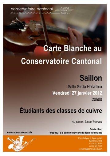 Carte Blanche au Conservatoire Cantonal Saillon