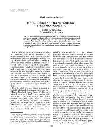 educating managers from an evidence based perspective According to samhsa's identifying and selecting evidence-based interventions, even evidence from multiple studies may be judged insufficient to resolve all doubts about the likely effectiveness of an approach designed for a different population or situation when deciding between two approaches, experts suggest choosing the one for which.