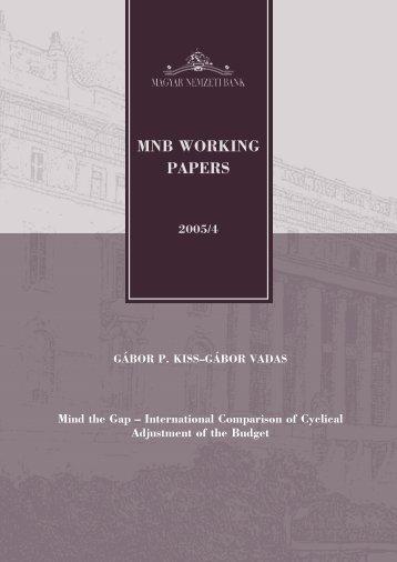 MNB WORKING PAPERS - MEK