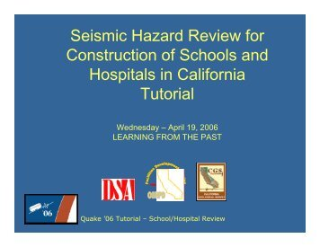 Seismic Hazard Review for Construction of Schools and Hospitals in ...