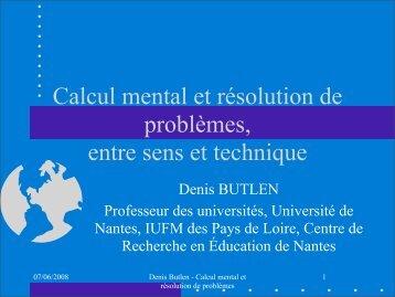 Calcul mental - IREM de Rennes