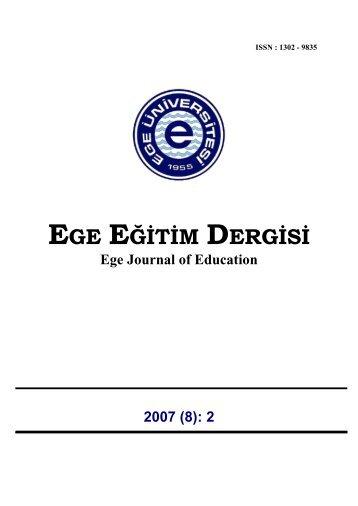 EGE EĞİTİM DERGİSİ - Eğitim Fakültesi - Ege Üniversitesi