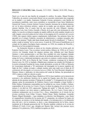 ROSALES CAMACHO, Luis. Granada, 31-V-1910 – Madrid, 24-X ...