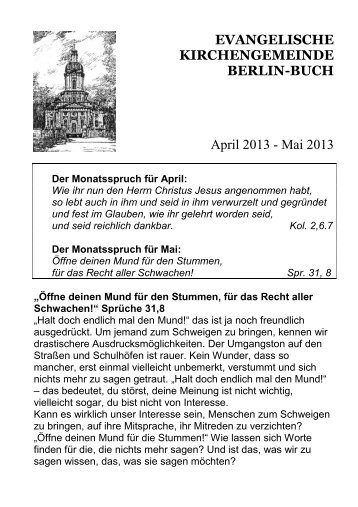 Mai 2013 - Evangelische Kirche Berlin-Buch