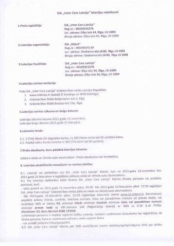"""SIA """"IntelI Cars Latvija"""" loterijas noteikumi 1 ... - Inter Cars Latvija"""
