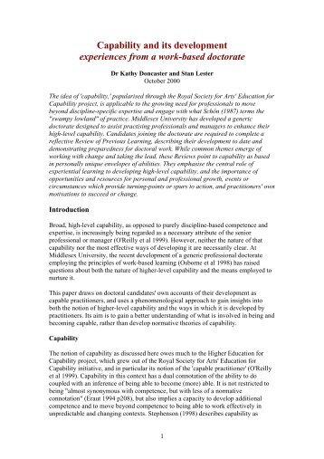 Capability and its development experiences from a work-based ...