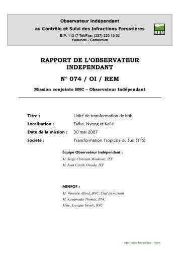 Rapport de mission REM N°074 Cameroun - Observateur ...