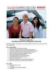 HR Payroll Apprentice Payroll/Human Resources ... - Bosch-Career