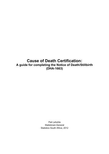 Cause of Death Certification: A guide for completing ... - SA HealthInfo