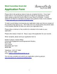 Ward Committee Grant Aid Application Form - Newcastle City Council