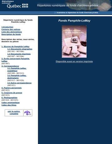 Disponible aussi en format PDF - Bibliothèque et Archives ...
