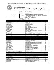 Meeting Minutes The Nevada Homeland Security Working Group