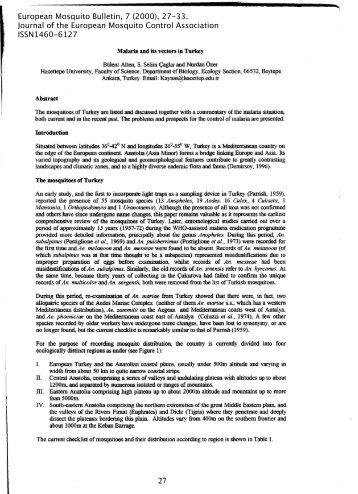 Malaria and its vectors in Turkey - European Mosquito Bulletin ...