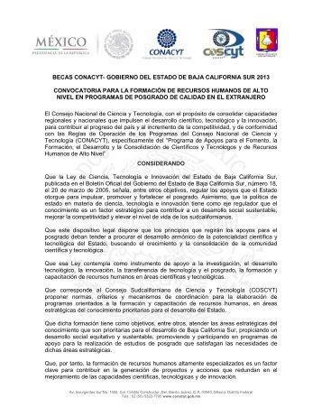 Gobierno del Estado de Baja California Sur - Conacyt