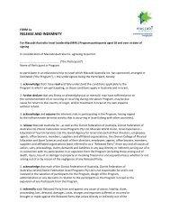 Release and Indemnity Over 18 - Maccabi Australia