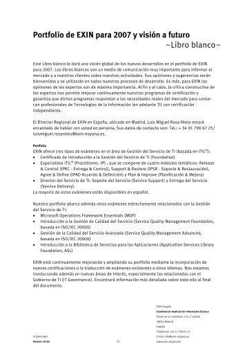 Portfolio de EXIN para 2007 y visión a futuro - bITa Center