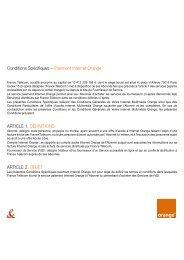 Conditions Spécifiques – Paiement Internet Orange ... - Orange mobile