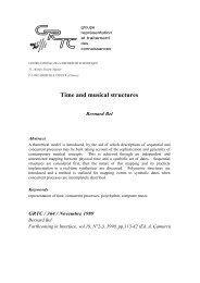 Time and musical structures - Laboratoire Parole et Langage