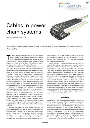 Cables in power chain systems - E+C Spot On