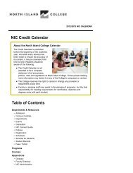 Table of Contents - North Island College