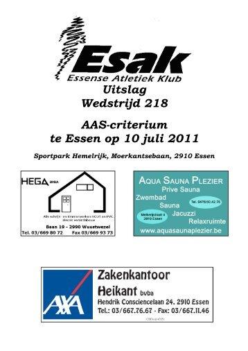 Uitslag Wedstrijd 218 AAS-criterium te Essen op 10 juli 2011 - KAPE