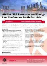 AMPLA / IBA Resources and Energy Law Conference South East Asia