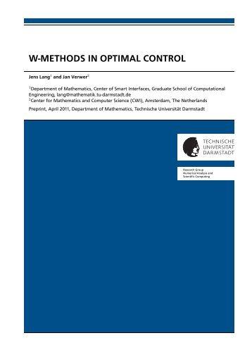 w-methods in optimal control - Technische Universität Darmstadt