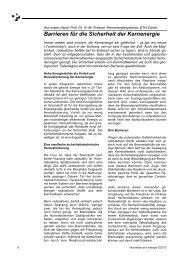 Barrieren für die Sicherheit der Kernenergie - Energieforum Schweiz