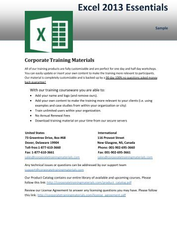 Excel 2013 Essentials - Corporate Training Materials