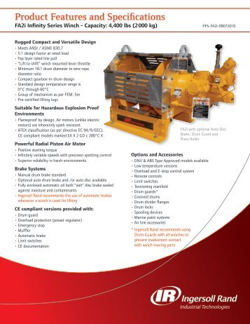 Product Features and Specifications - Ingersoll Rand