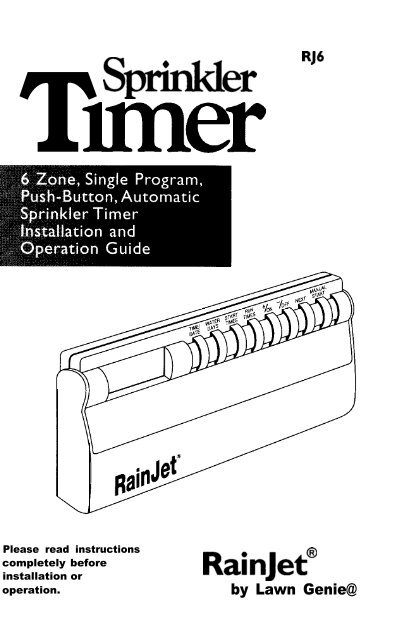 RainJet Hydro-Rain RJ-6 Controller Owner's Manual - Irrigation Direct