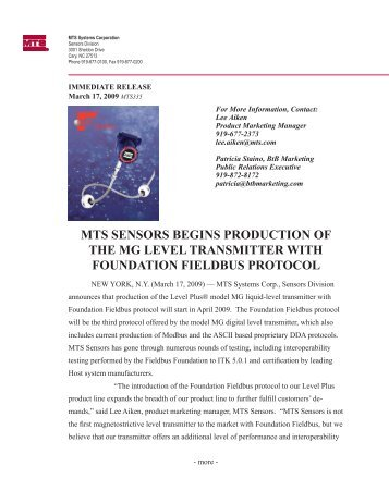 mts sensors begins production of the mg level transmitter with ...