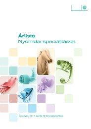 Árlista Nyomdai specialitások - Europapier
