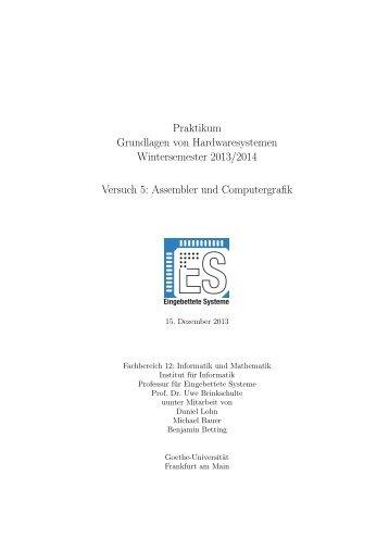Assembler und Computergrafik - Eingebettete Systeme - Goethe ...