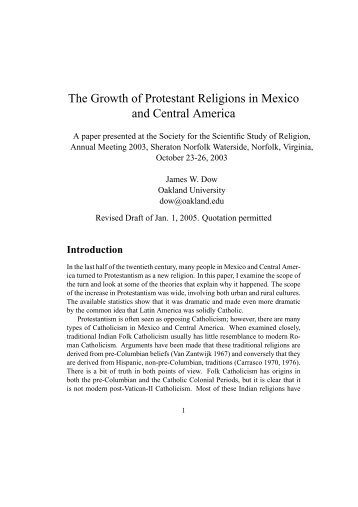 The Growth of Protestant Religions in Mexico and ... - Prolades.com