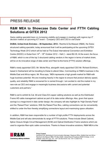 R&M MEA to Showcase Data Center and FTTH Cabling Solutions at ...