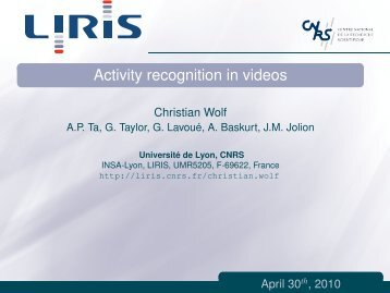 Activity recognition in videos - LIRIS - CNRS
