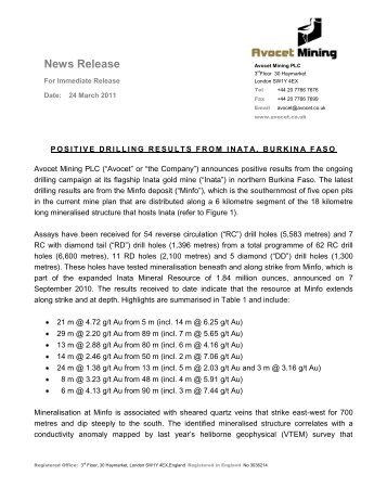 Positive Drilling Results from Inata, Burkina Faso - Avocet Mining PLC